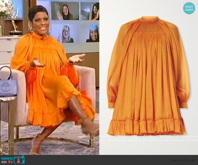 Cutout crinkled silk crepe de chine mini dress by Carolina Herrera worn by Tamron Hall  on Tamron Hall Show