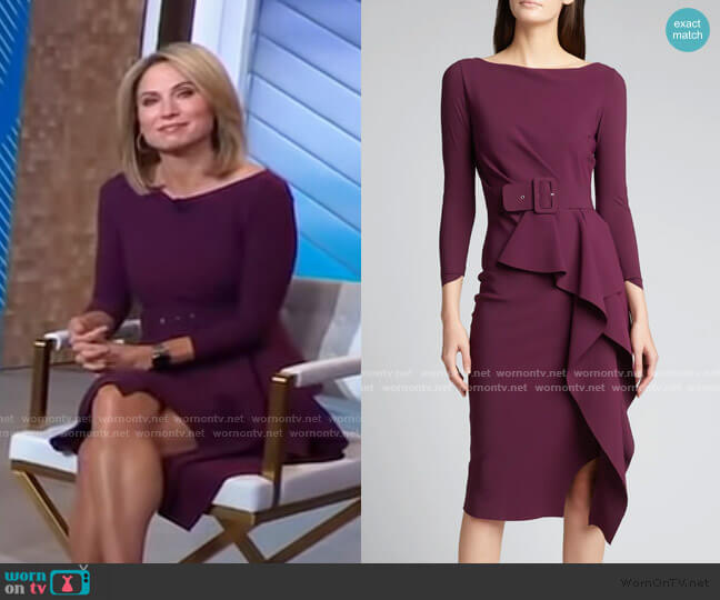 Afissa Boat-Neck Belted Ruffle Dress by La Petite Robe di Chiara Boni worn by Amy Robach  on Good Morning America