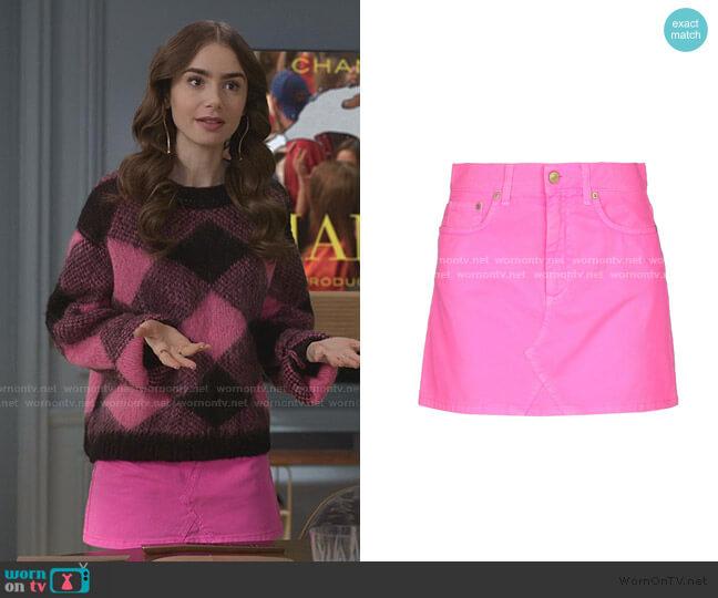 Denim Skirt by Chiara Ferragni worn by Emily Cooper (Lily Collins) on Emily in Paris