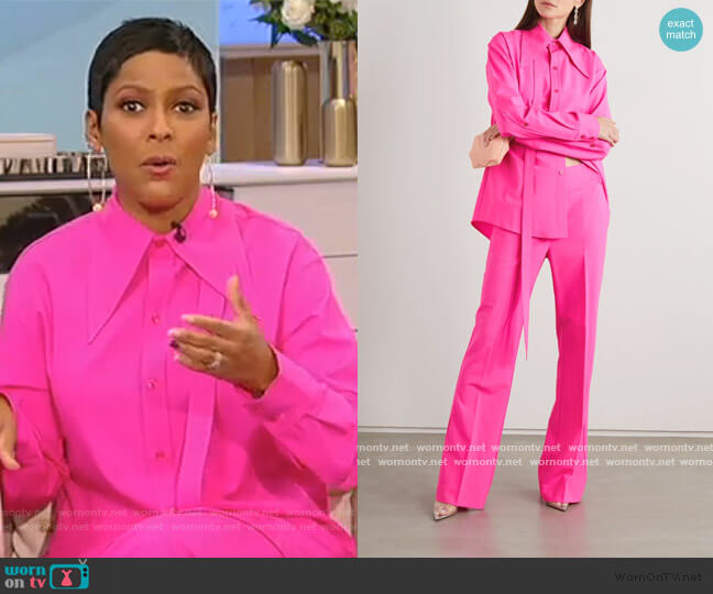 Tie-detailed neon wool-blend shirt and pants by Christopher John Rogers worn by Tamron Hall  on Tamron Hall Show
