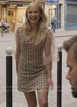 Camille's beige plaid sleeveless dress on Emily in Paris