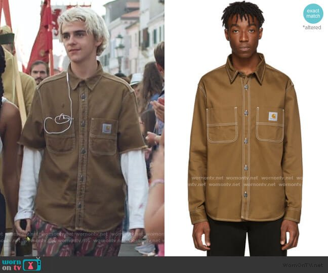 Chalk Cotton Twill Overshirt by Carhartt worn by Fraser Wilson (Jack Dylan Grazer) on We Are Who We Are