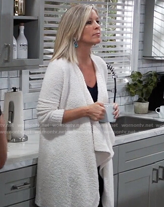 Carly's white draped cardigan on General Hospital