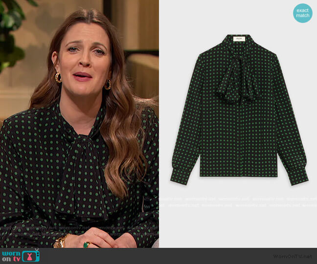 Blouse with Jabot in Crepe de Chine by Celine worn by Drew Barrymore  on The Drew Barrymore Show