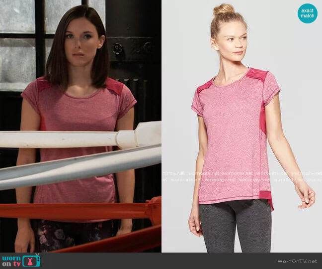 Short Sleeve Run T-Shirt in Berry Purple by C9 Champion worn by Willow Tait (Katelyn MacMullen) on General Hospital
