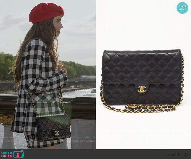 Lambskin Flap Bag by Chanel worn by Emily Cooper (Lily Collins) on Emily in Paris