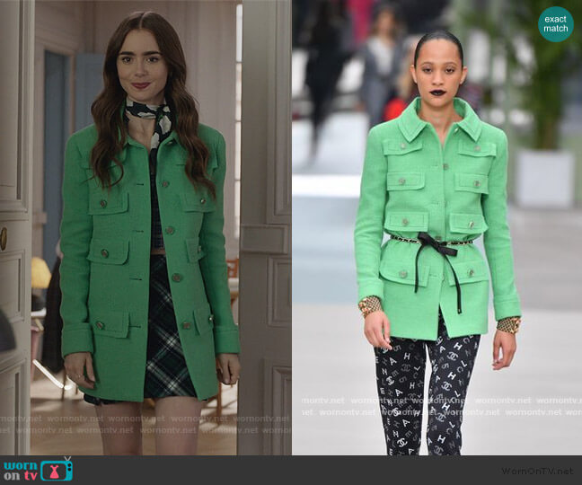 Resort 2020 Jacket by Chanel worn by Emily Cooper (Lily Collins) on Emily in Paris