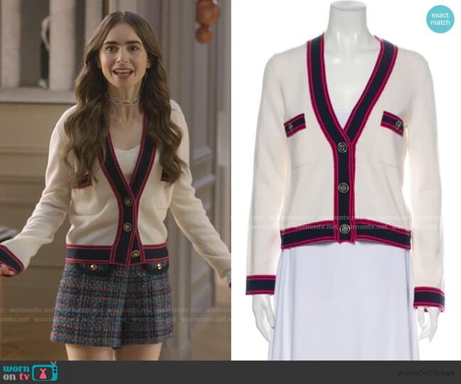 Cashmere Sweater by Chanel worn by Emily Cooper (Lily Collins) on Emily in Paris