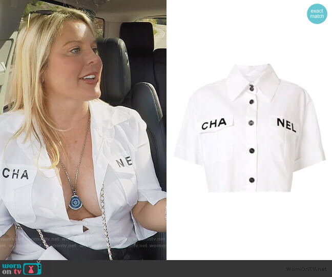 Cropped Logo Shirt by Chanel worn by Elizabeth Lyn Vargas  on The Real Housewives of Orange County