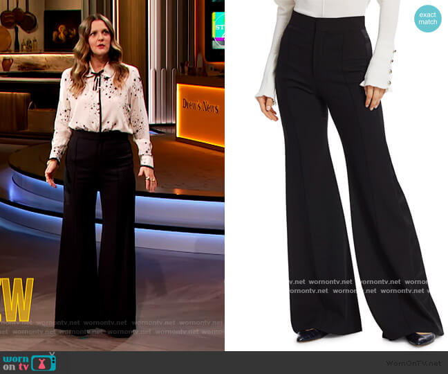 High Waist Flared Wool Pants by Chloe worn by Drew Barrymore  on The Drew Barrymore Show