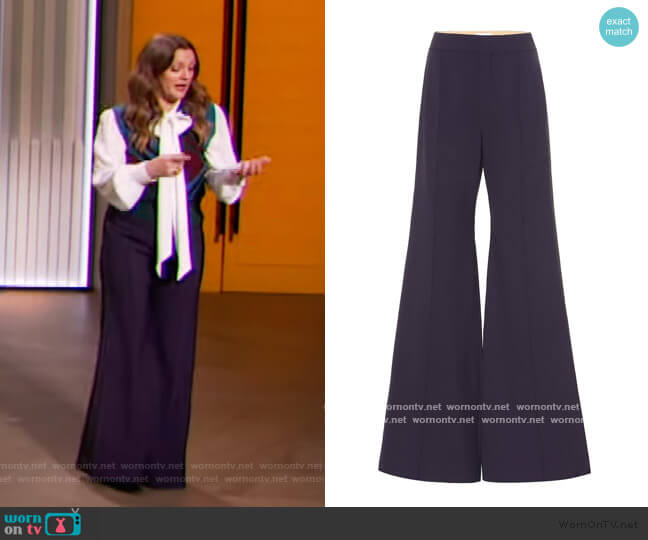 Stretch-wool high-rise flared pants by Chloe worn by Drew Barrymore  on The Drew Barrymore Show