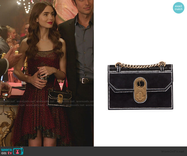 Elisa Mini Suede Strass Shoulder Bag by Christian Louboutin worn by Emily Cooper (Lily Collins) on Emily in Paris
