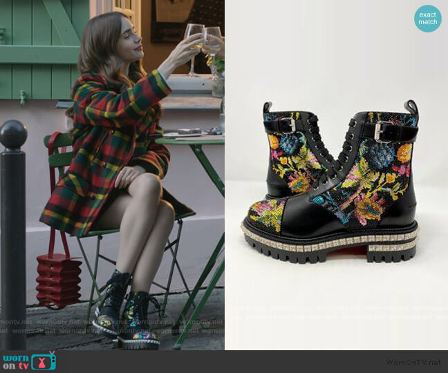 King Beaded Red Sole Boots by Christian Louboutin worn by Emily Cooper (Lily Collins) on Emily in Paris
