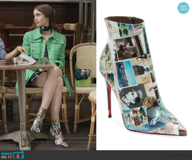 So Kate College Patent by Christian Louboutin worn by Emily Cooper (Lily Collins) on Emily in Paris