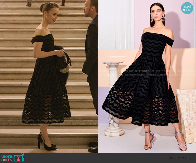 Pre-Fall 2019 Collection by Christian Siriano worn by Emily Cooper (Lily Collins) on Emily in Paris