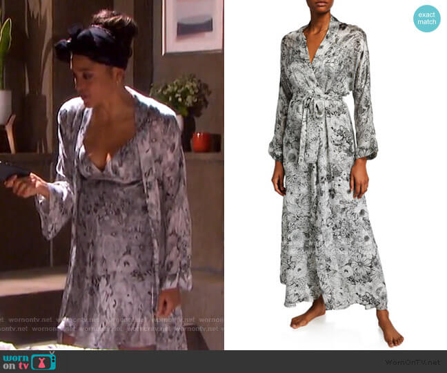 Arabella Floral-Print Long Robe by Christine Lingerie worn by Lani Price (Sal Stowers) on Days of our Lives