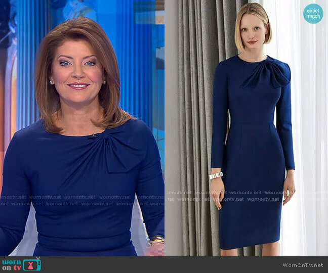 Cliveden Dress by The Fold worn by Norah O'Donnell  on CBS Evening News