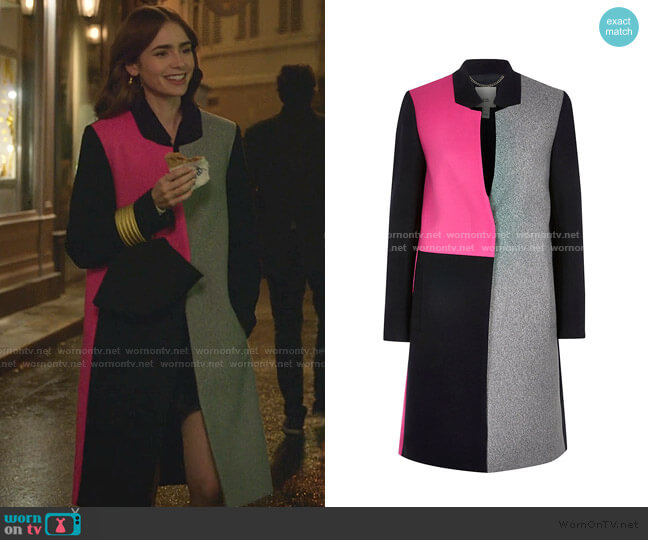 Colour Blocked Longline Coat by River Island worn by Emily Cooper (Lily Collins) on Emily in Paris