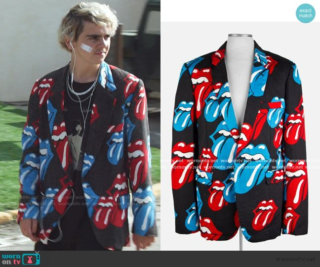 Rolling Stones Blazer by Comme des Garcon worn by Fraser Wilson (Jack Dylan Grazer) on We Are Who We Are