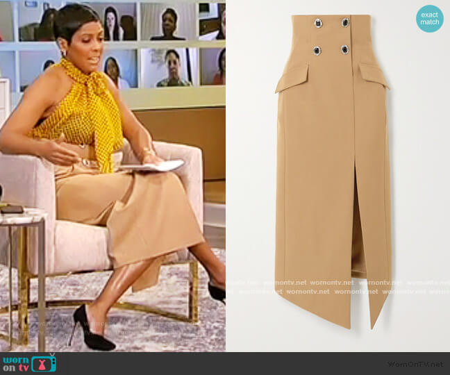 Embellished wool-twill midi skirt by David Koma worn by Tamron Hall  on Tamron Hall Show
