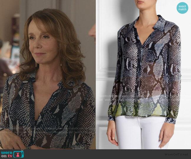 Lorelei Snake-Print Shirt by Diane von Furstenberg worn by Sylvie (Philippine Leroy-Beaulieu) on Emily in Paris