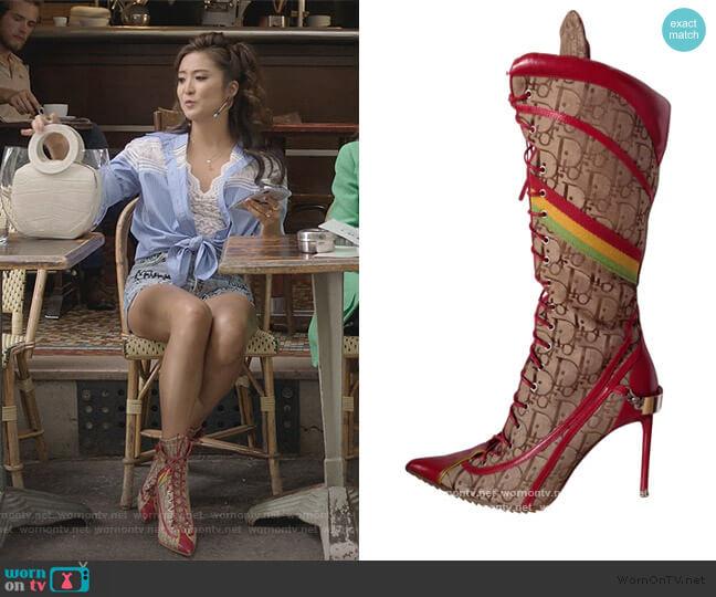 Rasta Boots by Dior worn by Mindy Chen (Ashley Park) on Emily in Paris