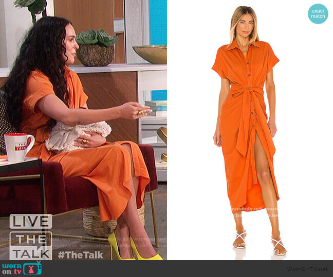 Buttoned Shirt Dress by Divine Heritage worn by Rumer Willis on The Talk