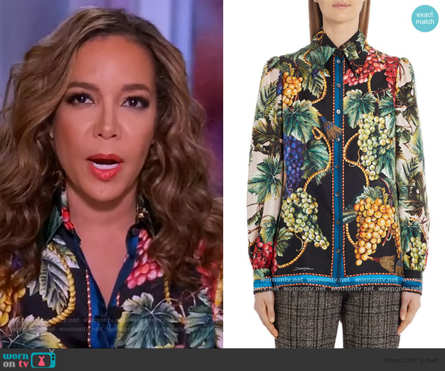 Print Silk Shirt by Dolce & Gabbana worn by Sunny Hostin  on The View