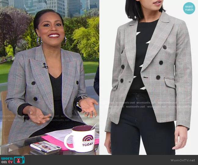 Double Breasted Plaid Blazer by Banana Republic worn by Sheinelle Jones  on Today