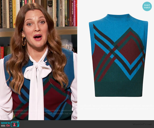 Graphic-print cashmere and wool-blend vest by Dries Van Noten worn by Drew Barrymore  on The Drew Barrymore Show