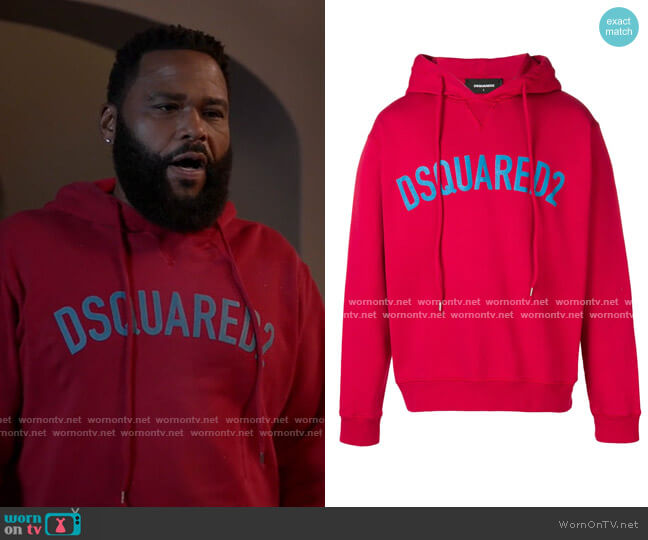 Logo Print Hoodie by Dsquared2 worn by Andre Johnson (Anthony Anderson) on Blackish
