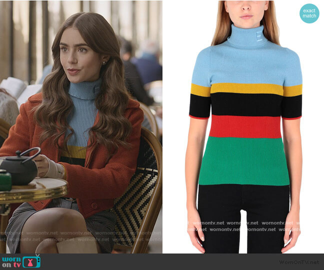 Turtleneck Sweater by Essentiel Antwerp worn by Emily Cooper (Lily Collins) on Emily in Paris