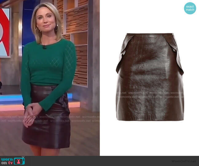 Elgantier Ruffle-Trimmed Leather Mini Skirt by Sandro worn by Amy Robach  on Good Morning America
