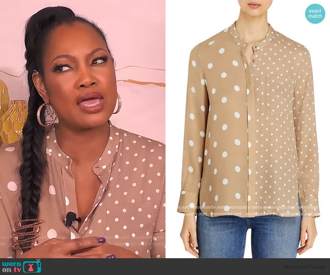Nina Sheer Mixed-Dot Blouse by Elie Tahari worn by Garcelle Beauvais  on The Real
