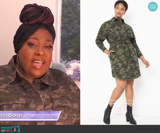 Belted Camo Dress by Eloquii worn by Loni Love  on The Real