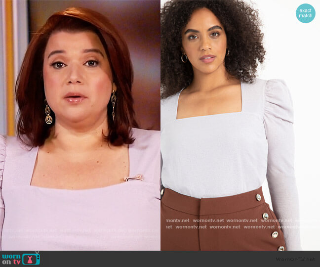 Dramatic Puff Sleeve Top with Square Neck by Eloquii worn by Ana Navarro  on The View