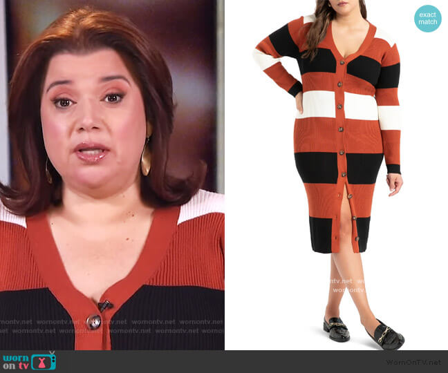 Stripe Cardigan Long Sleeve Sweater Dress Eloquii worn by Ana Navarro  on The View