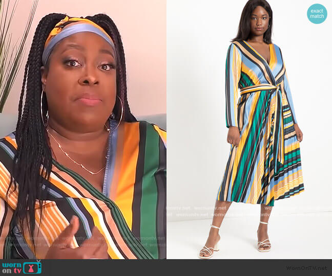 Sunburst Pleated Midi Dress by Eloquii worn by Loni Love  on The Real