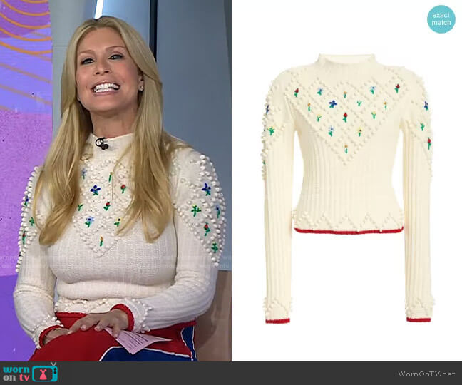 Embroidered Wool Sweater by Philosophy di Lorenzo Serafini worn by Jill Martin  on Today