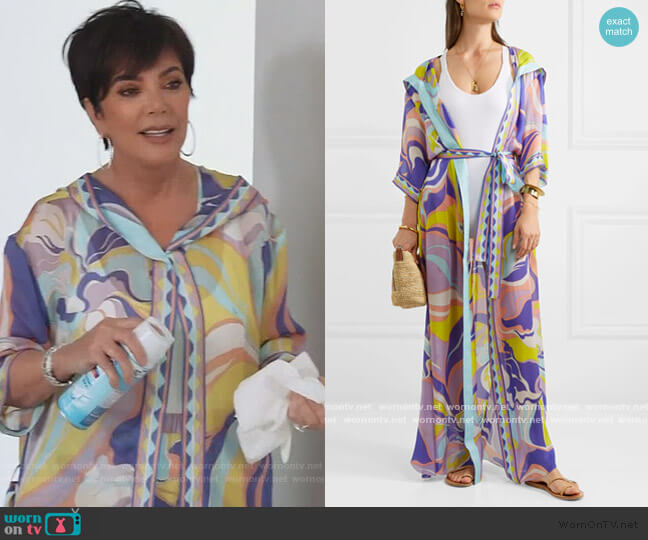 Hooded printed silk-georgette robe by Emilio Pucci worn by Kris Jenner  on Keeping Up with the Kardashians