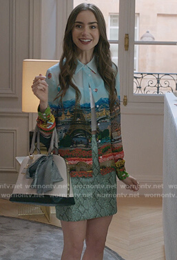 Emily's Paris print blouse and snakeskin skirt on Emily in Paris