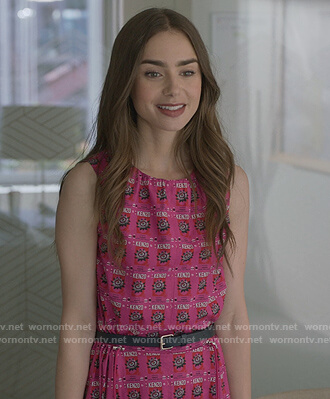 Emily's pink Kenzo logo print dress on Emily in Paris