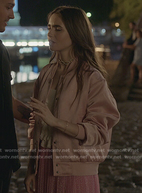 Emily's pink satin bomber jacket on Emily in Paris