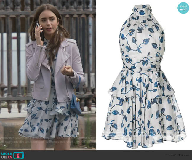 Tilly Dress by Aje worn by Emily Cooper (Lily Collins) on Emily in Paris