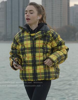 Emily's yellow plaid jacket on Emily in Paris