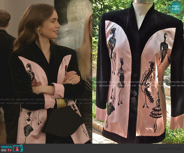 Vintage Blazer by Escada worn by Emily Cooper (Lily Collins) on Emily in Paris