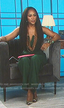 Even's green strapless dress on The Talk