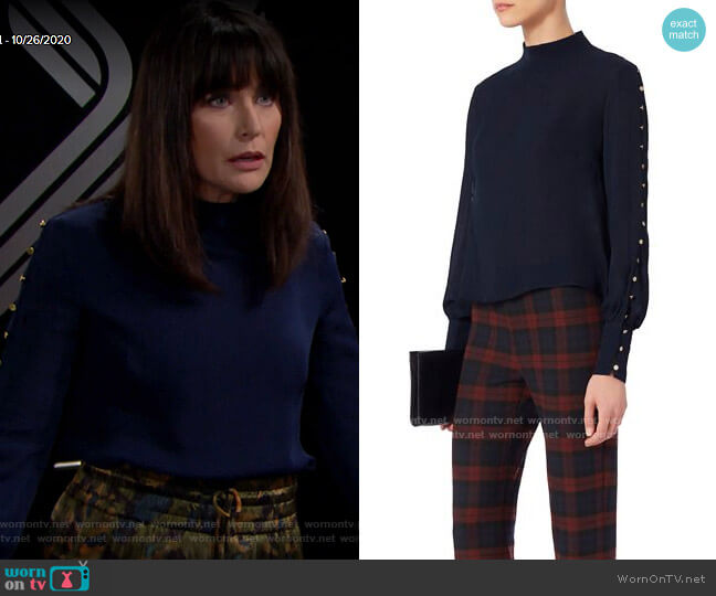 Intermix Candice Button Blouse worn by Quinn Fuller (Rena Sofer) on The Bold & the Beautiful