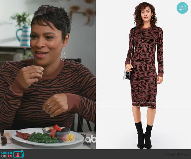 Negin Mirsalehi Fitted Tiger Print Midi Sweater Dress by Express worn by Angela (Carly Hughes ) on American Housewife