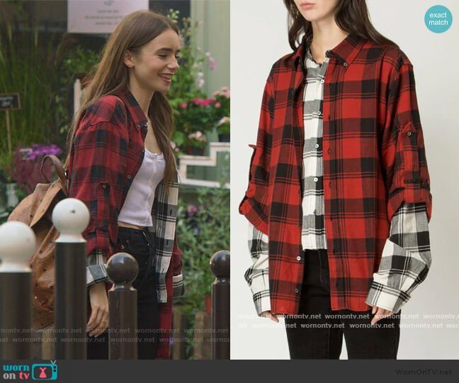 layered plaid shirt by Faith Connection worn by Emily Cooper (Lily Collins) on Emily in Paris